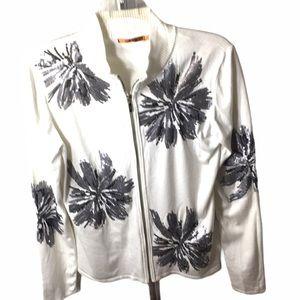 Belldini Zip Lightweight Sequins Sweater Jacket